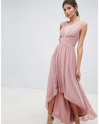 Little Mistress - Empire Detail Dipped Hem Maxi Dress With Sheer Embellished Neckline - Lyst