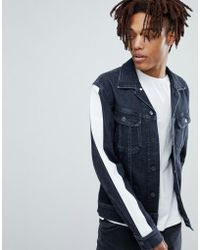 Lee Jeans - Slim Rider Denim Jacket With Side Stripe Arms - Lyst