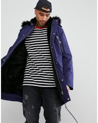 ASOS - Heavyweight Parka With Faux Fur Lining In Blue - Lyst
