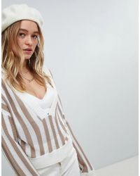 Honey Punch - Relaxed V-neck Jumper In Stripe - Lyst