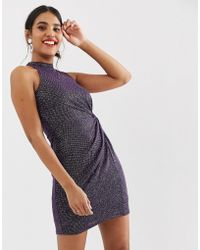 77c1604a Oasis - Bodycon Dress With Twist Detail In Purple Glitter - Lyst