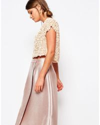 Coast - Capped Sleeve Sequin Top - Blush - Lyst