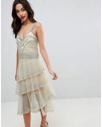9b51bb8f7a0 ASOS Red Carpet Kimono Holographic Sequin Maxi Dress in Metallic - Lyst
