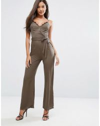 Lipsy - Michelle Keegan Loves Satin Jumpsuit With Lace Insert - Lyst