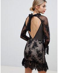 ASOS - Asos High Neck Open Back Lace Mini Dress - Lyst