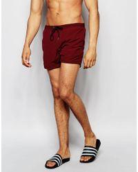 Pull&Bear - Swim Shorts In Burgundy - Lyst