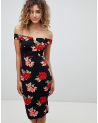 AX Paris - V Detail Floral Midi Dress - Lyst