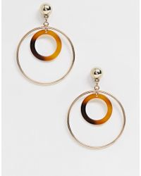 Missguided - Multi Hoop Drop Earrings In Gold And Tortoiseshell - Lyst