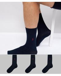 Polo Ralph Lauren - Egyptian Cotton Ribbed 3 Pack Socks Player Logo In Navy - Lyst