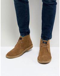 Farah - Lozza Suede Desert Boots In Beige - Lyst