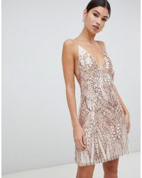 Love Triangle - Sequin Embellished Cami Dress In Rose Gold - Lyst