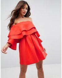 3184fa435397a Little Mistress Embellished Off Shoulder Wrap Mini Dress in Red - Lyst