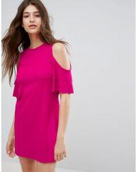 Bershka - Cold Shoulder Shift Dress - Lyst
