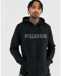 Pull&Bear - Logo Hoodie In Black - Lyst