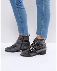 New Look - Stud Western Velvet Pointed Ankle Boot - Lyst