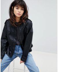 Vero Moda - 80's Leather Look Waisted Jacket - Lyst