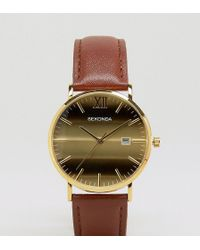 Sekonda - Tan Leather Watch With Gold Dial Exclusive To Asos - Lyst