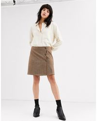 ONLY - Check Mini Skirt With Buttons - Lyst
