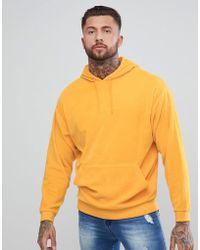 ASOS - Oversized Hoodie In Yellow Velour - Lyst