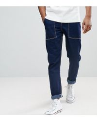 ASOS - Tall Recycled Tapered Carpenter Jeans In Indigo With Contrast Stitching - Lyst