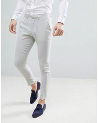 ASOS - Design Wedding Super Skinny Suit Pants In Ice Gray Linen - Lyst