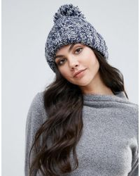 Alice Hannah - Marl Chunky Knit Cable Beanie Hat - Lyst