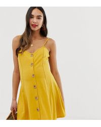 ASOS - Asos Design Maternity Mini Slubby Cami Swing Dress With Faux Wood Buttons - Lyst