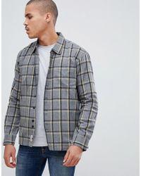 Bellfield - Overshirt In Grey Windowpane Check - Lyst
