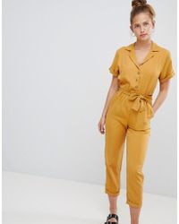 Pull&Bear - Button Through Jumpsuit In Mustard - Lyst
