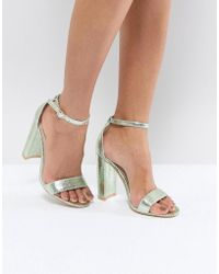 Glamorous - Metallic Green Barely There Block Heeled Sandals - Lyst