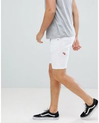 11 Degrees - Skinny Denim Shorts In White - Lyst