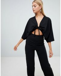 PrettyLittleThing - Crepe Batwing Cut Out Jumpsuit - Lyst