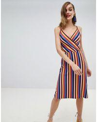Warehouse - Rainbow Strappy Wrap Dress - Lyst