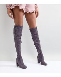 Lipsy - Faux Suede Over The Knee Boots - Lyst
