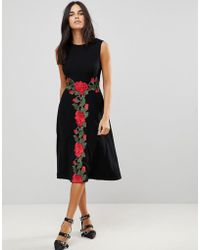 Traffic People - Midi Dress With Rose Applique - Lyst