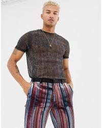 ASOS - Longline T-shirt In Sheer Metallic Fabric In Silver - Lyst