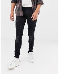 Blend - Biker Super Skinny Jeans In Black - Lyst