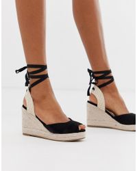 6d02f8b5aa93 Pimkie - Peep Toe Espadrille Wedges In Black - Lyst