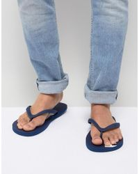 Hollister - Solid Rubber Logo Flip Flop In Navy Print - Lyst