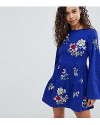 ASOS - Embroidered Tiered Smock Dress With Long Sleeves - Lyst