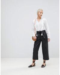 New Look - Wide Pinstripe Tie Waist Crop Trousers - Lyst