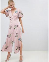 Oasis - Jumpsuit With Split Leg In Floral Print - Lyst