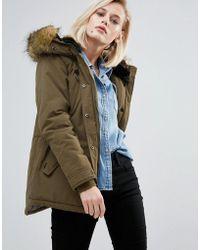 Pepe Jeans - Olympia Faux Fur Trim Parka Coat - Lyst