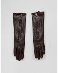 ASOS - Long Glove In Brown - Lyst