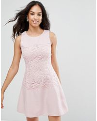 AX Paris - Pink Lace Waist Skater Dress - Lyst