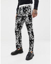 ASOS - Slim Tuxedo Suit Trousers In Monochrome Floral Jacquard - Lyst