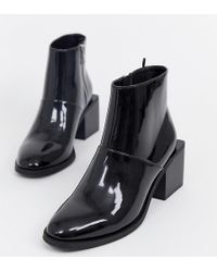 a5038e60637ba Monki - Patent Ankle Boots With Square Heels In Black - Lyst