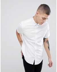 Original Penguin - Short Sleeve Slim Fit Oxford Shirt With Button Down Collar In White - Lyst