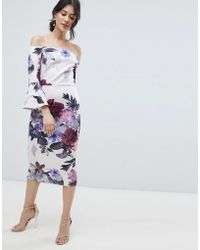 True Violet - Bardot Midi Dress With Frill Sleeve In Foral Print - Lyst