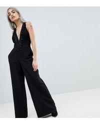 c5c1d9d5e007 Asos Design Lace Top Jumpsuit With Wide Leg in Black - Lyst